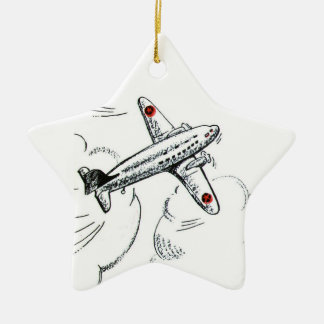 Dibujo pasado de moda del aeroplano adornos