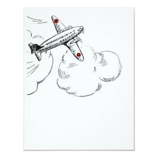 Dibujo pasado de moda del aeroplano invitación 10,8 x 13,9 cm