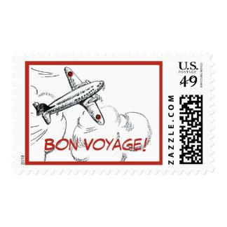 Dibujo pasado de moda del aeroplano sello