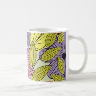 Dibujo primitivo retro de la flor taza