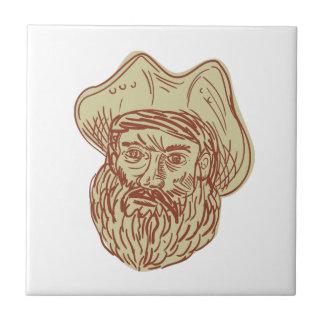 Dibujo principal de la barba del pirata azulejo cuadrado pequeño