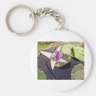 Dibujo púrpura de la flor de Lotus Llavero Redondo Tipo Pin
