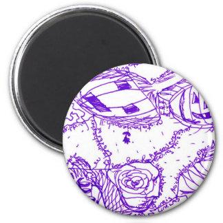 Dibujo púrpura de la tinta del mundo púrpura de ar imán redondo 5 cm