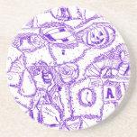 Dibujo púrpura de la tinta del mundo púrpura de ar posavasos para bebidas