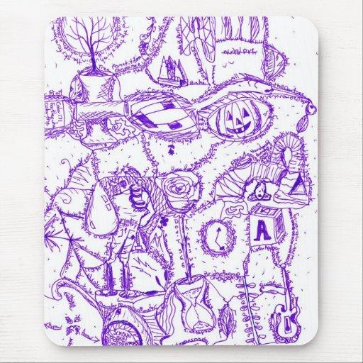 Dibujo púrpura de la tinta del mundo púrpura de ar tapete de ratones