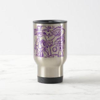 Dibujo púrpura de la tinta del mundo púrpura de taza térmica