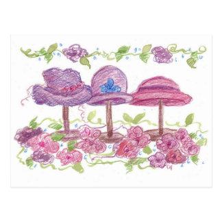 Dibujo púrpura de las flores del rosa de lujo de tarjeta postal