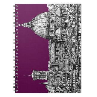 Dibujo púrpura del renacimiento libros de apuntes con espiral