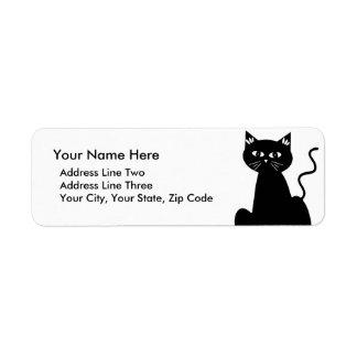 Dibujo retro lindo del dibujo animado del gato etiqueta de remitente
