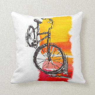 Dibujo rojo colorido de la bici cojin