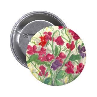 Dibujo rojo de la acuarela del jardín de flores de pin redondo de 2 pulgadas