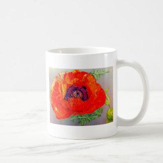 Dibujo rojo de la amapola taza
