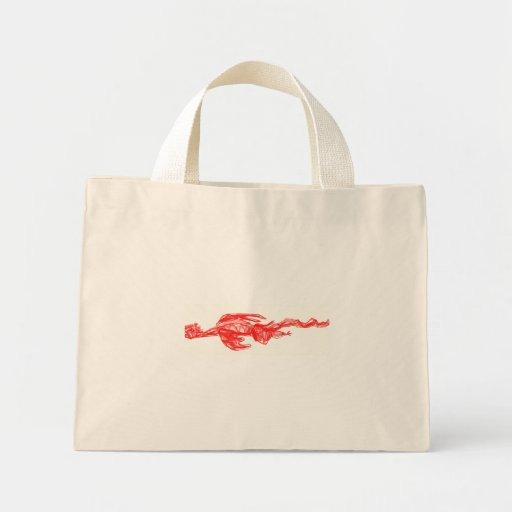 Dibujo rojo del garabato del dragón bolsa
