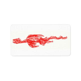 Dibujo rojo del garabato del dragón etiquetas de dirección