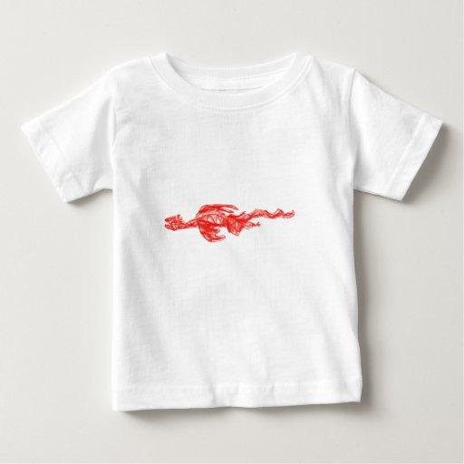 Dibujo rojo del garabato del dragón tee shirts