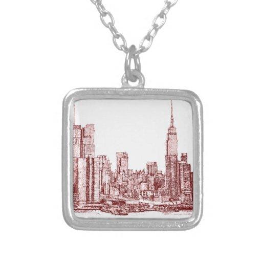 Dibujo rojo del horizonte de Nueva York Joyerias