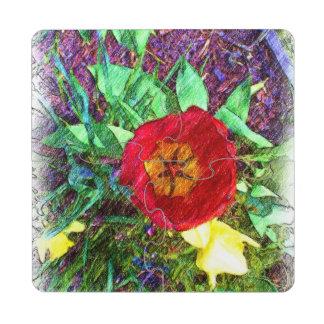 Dibujo rojo del tulipán de la flor posavasos de puzzle