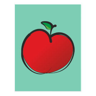 Dibujo rojo grande de Apple Postales