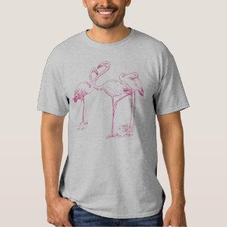 Dibujo rosado del flamenco del vintage playeras