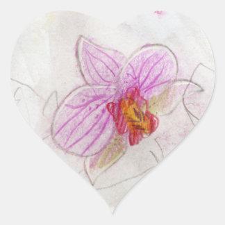dibujo rosado hermoso de la orquídea colcomanias corazon personalizadas