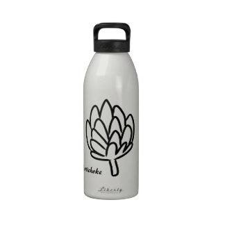 Dibujo simple de la alcachofa botellas de agua reutilizables