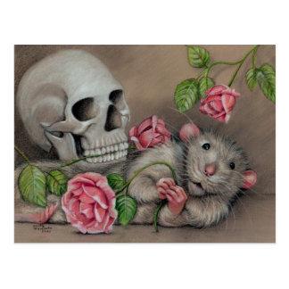 Dibujo subió rata de la postal del cráneo
