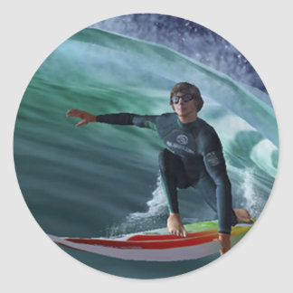 dibujo-surf_9 classic round sticker