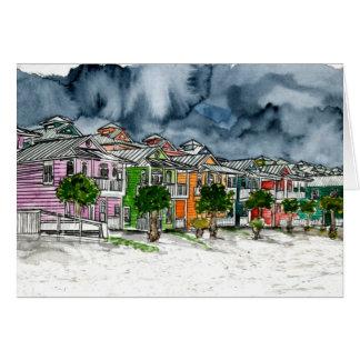 dibujo tropical del arte de las casas de playa tarjetón