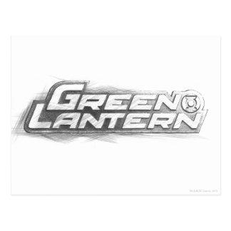 Dibujo verde de la linterna postales