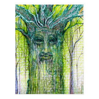 Dibujo verde del alcohol del árbol postal