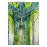 Dibujo verde del alcohol del árbol tarjetas