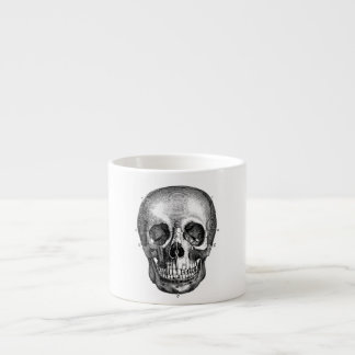 Dibujo viejo anatómico retro del cráneo de los 180 taza de espresso