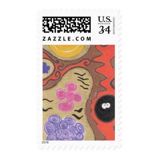 Dibujo vigoroso del dibujo animado del árbol de timbres postales