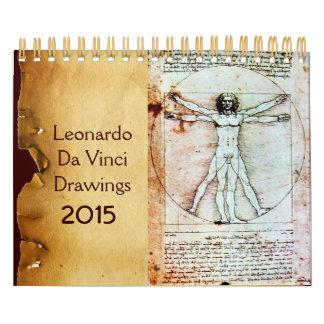Dibujos 2015 de LEONARDO DA VINCI Calendario De Pared