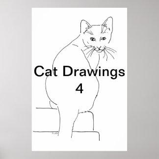 Dibujos 4 del gato impresiones