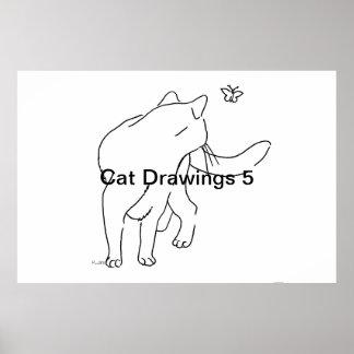 Dibujos 5 del gato posters