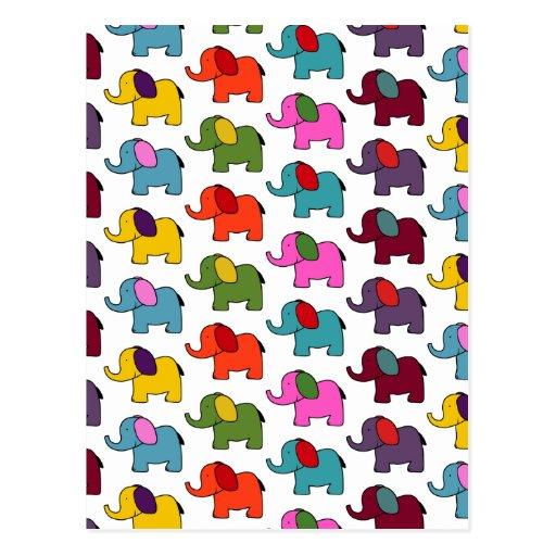 Dibujos animados coloridos lindos del elefante tarjetas postales