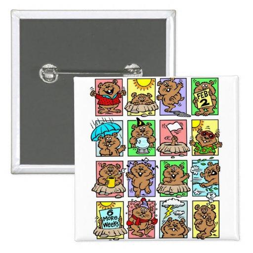 Dibujos animados divertidos del día de la marmota pin cuadrado