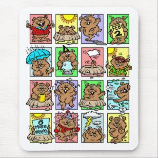 Dibujos animados divertidos del día de la marmota tapetes de raton