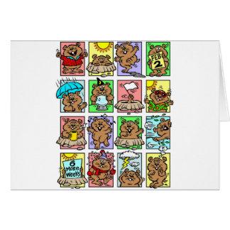 Dibujos animados divertidos del día de la marmota tarjeta de felicitación