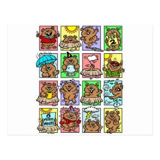 Dibujos animados divertidos del día de la marmota postal