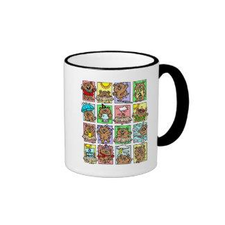 Dibujos animados divertidos del día de la marmota taza a dos colores