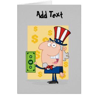 Dibujos animados divertidos del día del impuesto - tarjeta de felicitación