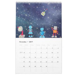 Dibujos animados en calendario del espacio