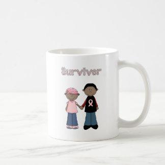 Dibujos animados rosados de la cinta del supervivi taza de café