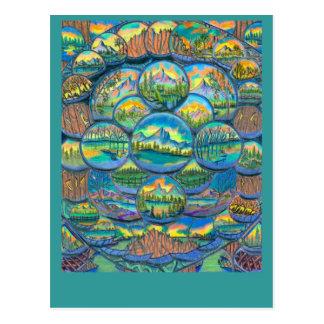 Dibujos de los mundos de la montaña tarjetas postales
