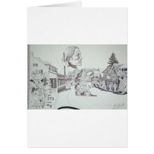 Dibujos del arte del ciervo viejos y nuevos 001 tarjeta de felicitación