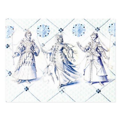 Dibujos del traje del vintage, siglo XVI Postal