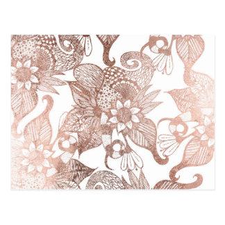 Dibujos florales rústicos del falso oro color de postales