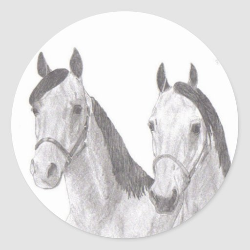Dibujos hermosos del caballo de las yeguas pegatina redonda